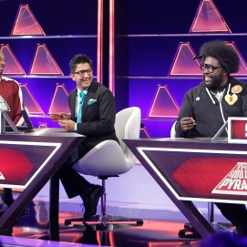 "THE $100,000 PYRAMID - Airdate: June 24, 2018 - Michael Strahan hosts ""The 100,000 Pyramid,"" airing SUNDAYS (9-10PM, ET) on the ABC Television Network. On this episode Snoop Dogg competes against Questlove and in game two Richard Schiff and Nicholas Gonzalez face off. (ABC/Lou Rocco) SNOOPDOG, ARCHITH SESHADRI, QUESTLOVE"
