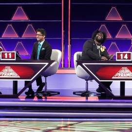 "THE $100,000 PYRAMID - Airdate: June 24, 2018 - Michael Strahan hosts ""The 100,000 Pyramid,"" airing SUNDAYS (9-10PM, ET) on the ABC Television Network. On this episode Snoop Dogg competes against Questlove and in game two Richard Schiff and Nicholas Gonzalez face off. (ABC/Lou Rocco) SNOOPDOG, ARCHITH SESHADRI, QUESTLOVE, MELANIE LEGRANDE"